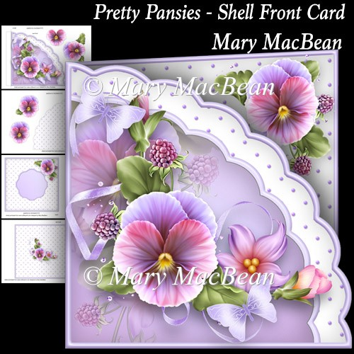 Pretty Pansies - Shell Front Card - Click Image to Close