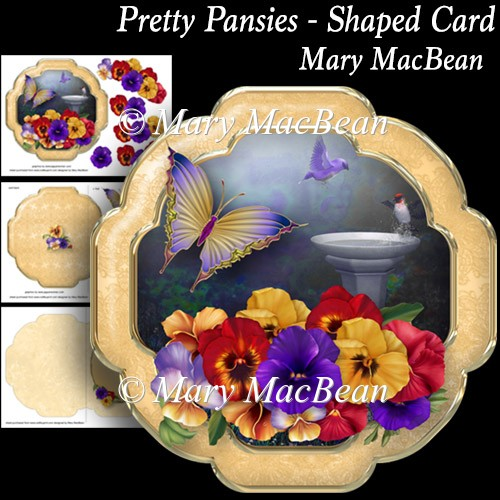 Pretty Pansies - Shaped Card - Click Image to Close