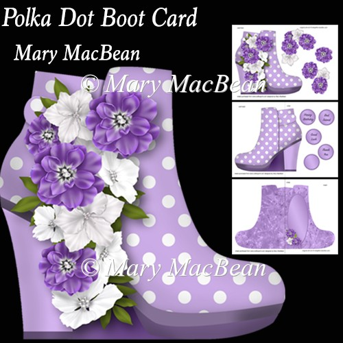 Polka Dot Boot Card - Click Image to Close