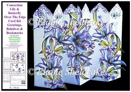 Lily & Butterfly Concertina Over The Edge Card Kit - Click Image to Close