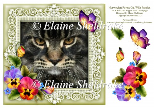 Norwegian Forest Cat 8 x 8 Card Topper With Pansy Decoupage - Click Image to Close