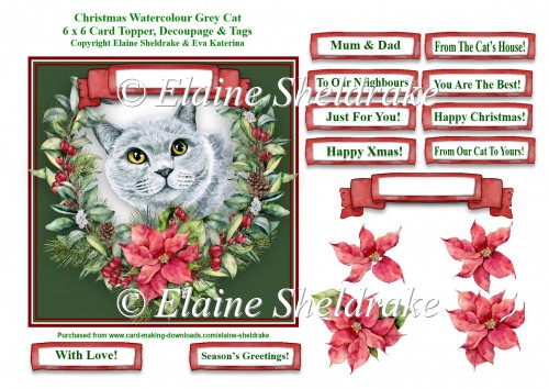 Christmas Poinsettias Watercolour Grey Cat - 6 x 6 Card Topper - Click Image to Close
