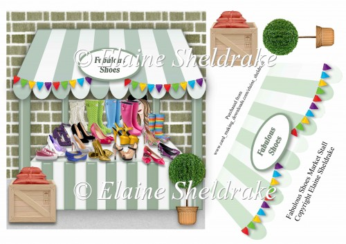 Fabulous Shoes Market Stall Card Topper With Decoupage - Click Image to Close