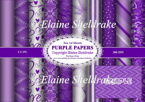Assorted Purple Papers -Ten A4 Backing Papers - For Paper Crafts - Click Image to Close