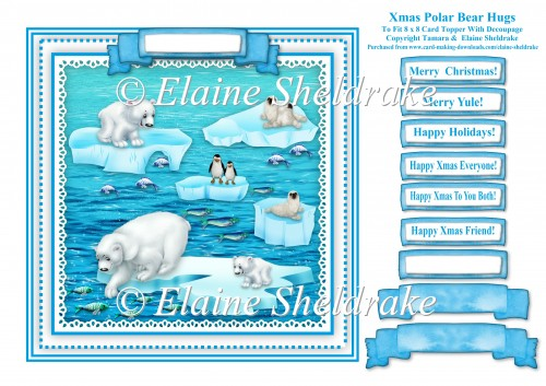Xmas Polar Bear Hugs - Square Card Topper With Greetings Tags - Click Image to Close