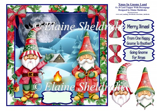 Christmas In Gnome Land - 8 x 8 Card Topper With Decoupage - Click Image to Close