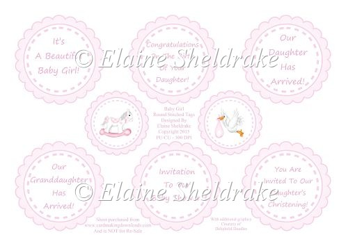 Pink Baby Girl Greetings Tags (1) For Cards & Scrapbook Pages - Click Image to Close