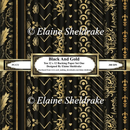 Black And Gold - Ten 12 x 12 Papers - Set One - Click Image to Close