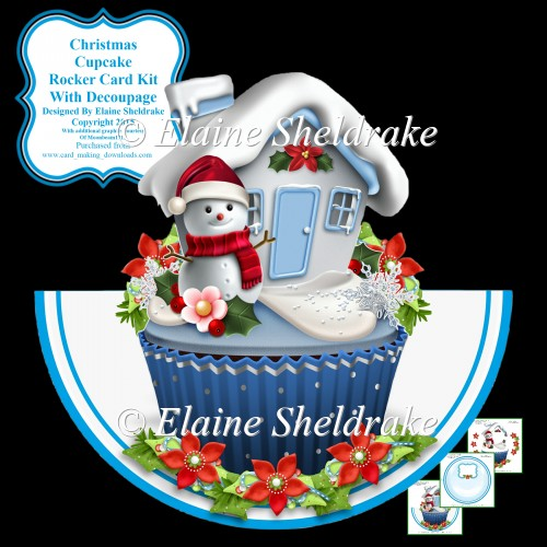 "Christmas Cupcake - 7"" x 7"" Rocker Card Kit With Decoupage - Click Image to Close"