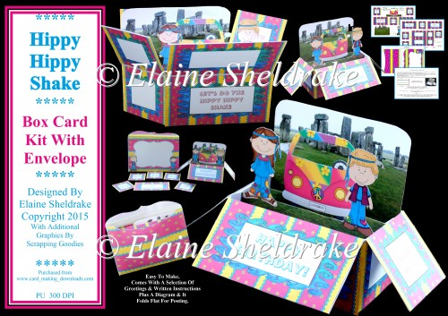 Hippy Hippy Shake - Pop Up Box Card Kit & Envelope - Click Image to Close
