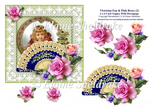 Victorian Fan & Pink Roses (2) - 6 x 6 Card Topper & Decoupage - Click Image to Close