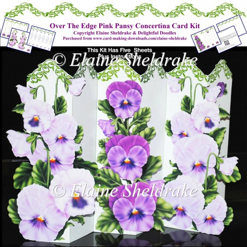 Over The Edge Pink Pansy Concertina Card Kit - Click Image to Close