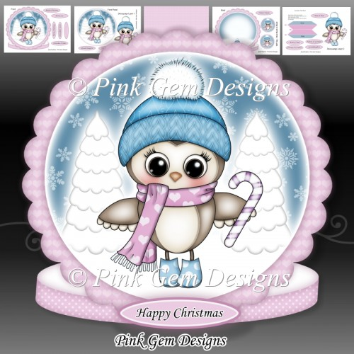 Olivia Owl With Candy Cane Mini Kit - Click Image to Close