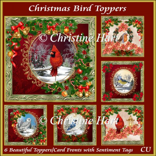 Christmas Bird Toppers Bumper Kit with Sentiments - Click Image to Close
