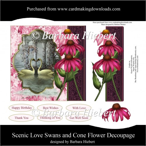 Scenic Love Swans and Cone Flower Decoupage - Click Image to Close