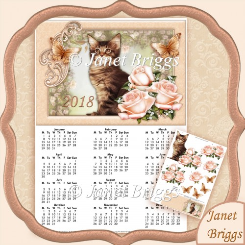 CAT & ROSES 2018 A4 UK Calendar with Decoupage Kit - Click Image to Close