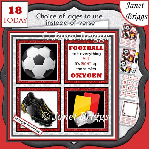 FOOTBALL RED 7.5 Quick Card Verse or Ages Decoupage & Insert Kit - Click Image to Close