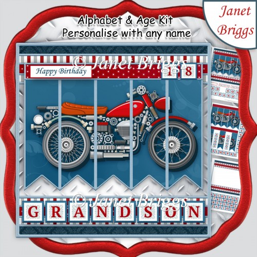 MOTOR BIKE 7.5 Alphabet and Age Quick Card Kit Create Any Name - Click Image to Close
