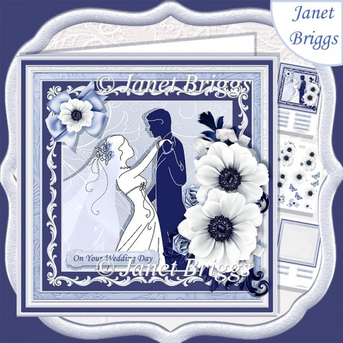 WEDDING BRIDE & GROOM Blue & Silver 7.8 Decoupage & Insert Kit - Click Image to Close