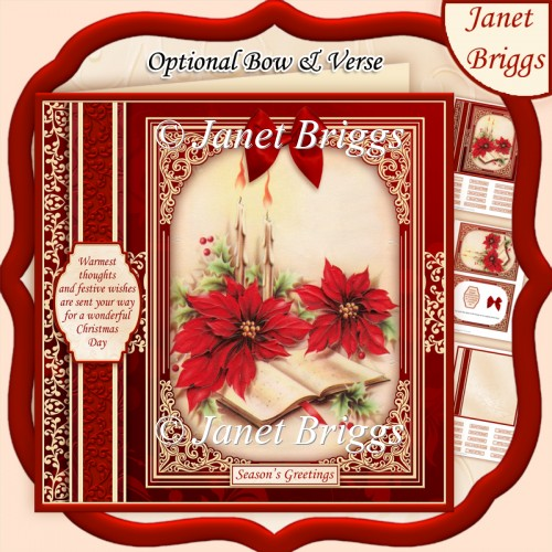 CHRISTMAS POINSETTIA 7.8 Quick Vintage Christmas Card & Insert - Click Image to Close