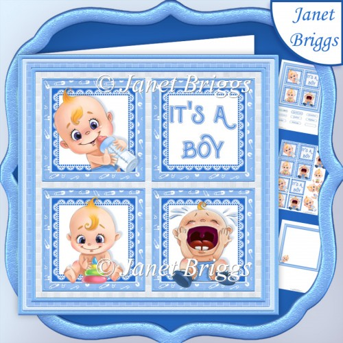 NEW BABY IT'S A BOY SQUARES 7.5 Decoupage & Insert Mini Kit - Click Image to Close