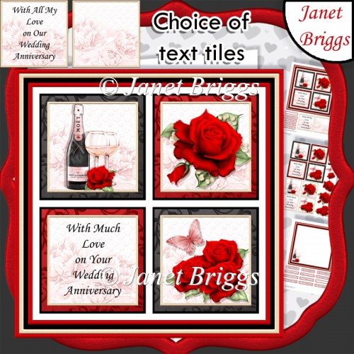 ANNIVERSARY ROSE SQUARES 7.5 Quick Layer Card & Insert Mini Kit - Click Image to Close