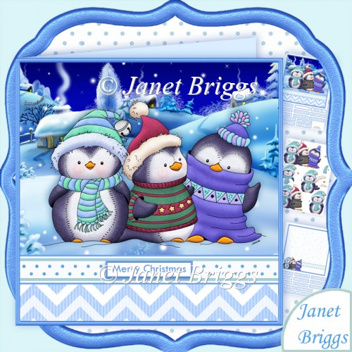 3 CHILLY PENGUINS Christmas Decoupage & Insert Kit - Click Image to Close