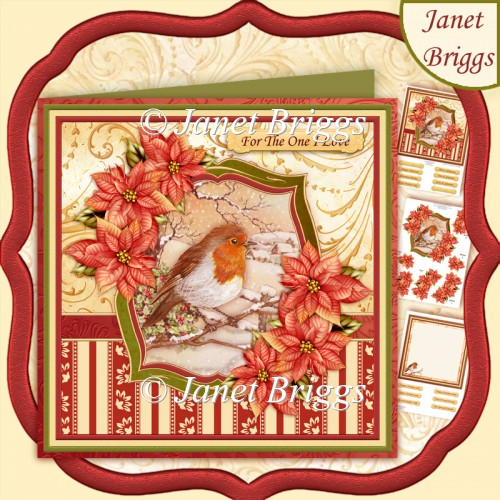 Robin & Poinsettia Christmas 8x8 Decoupage & Insert Kit - Click Image to Close