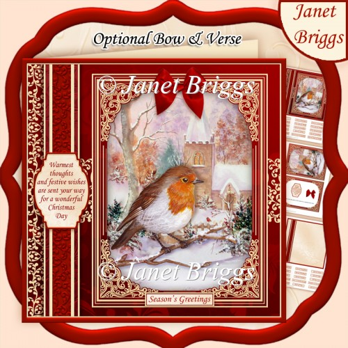 CHRISTMAS ROBIN & CHURCH 7.8 Quick Christmas Card & Insert - Click Image to Close