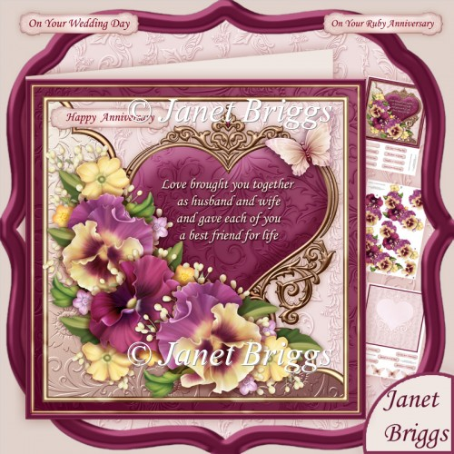 Pansy Heart & Verse for Wedding or Anniversary 8x8 Kit - Click Image to Close