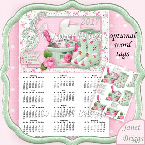 Rose Gardener 2017 A4 Uk Calendar With Decoupage Kit Instant Card Making Downloads