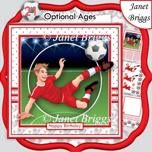 FOOTBALL STRIKER 7.5 Red Soccer Decoupage & Insert Mini Kit - Click Image to Close