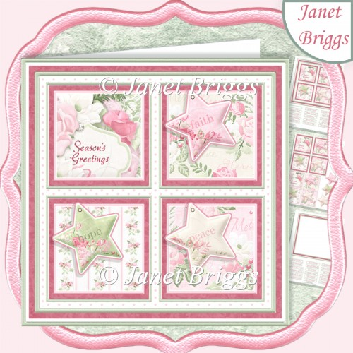 CHRISTMAS FAITH HOPE PEACE SQUARES 7.5 Quick Layer Card & Insert - Click Image to Close