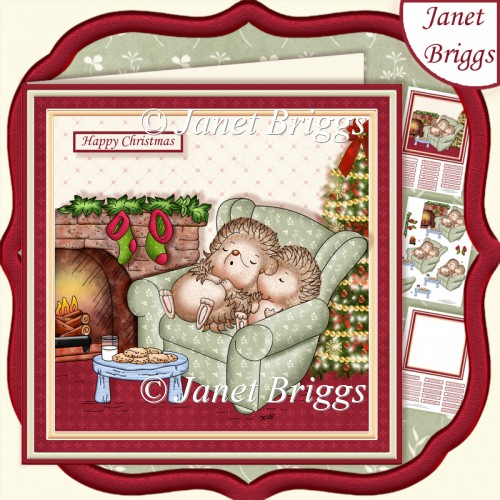 HEDGEHOGS WAITING FOR SANTA CHRISTMAS 7.5 Decoupage & Insert Kit - Click Image to Close