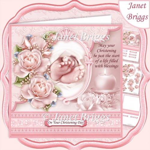 CHRISTENING TOES & ROSES Pink 7.5 Decoupage & Insert Kit - Click Image to Close