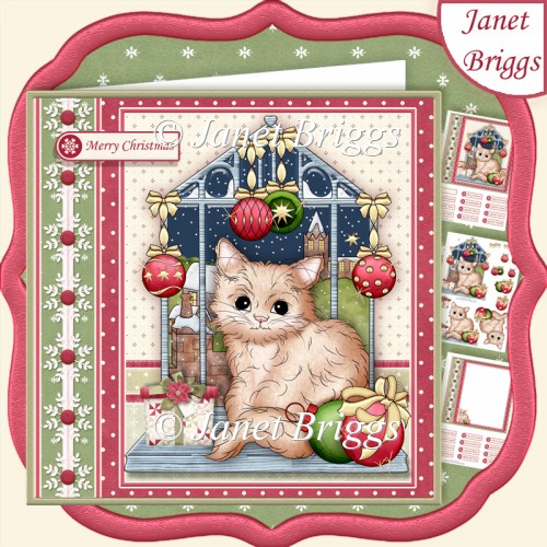 CHRISTMAS KITTY ON WINDOW 7.5 Decoupage & Insert Kit - Click Image to Close
