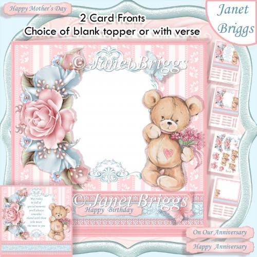 TEDDY BEAR ROSES Blank Front or With Verse Decoupage & Insert - Click Image to Close