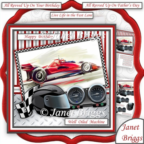MOTOR RACING WELL OILED MACHINE 7.5 Decoupage Male Mini Kit - Click Image to Close