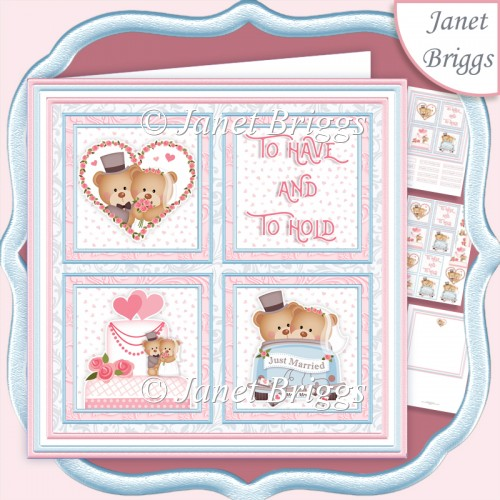 WEDDING BEARS Squares 7.5 Quick Layer Card & Insert Kit - Click Image to Close