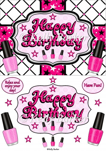 Happy Birthday Nail Polish Quick Card 163 0 80 Instant Card Making Downloads