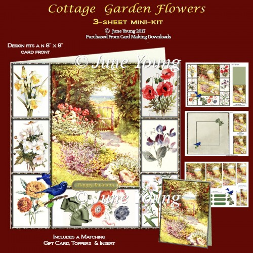 Cottage Garden Flowers - 3-Sheet Mini-Kit - Click Image to Close