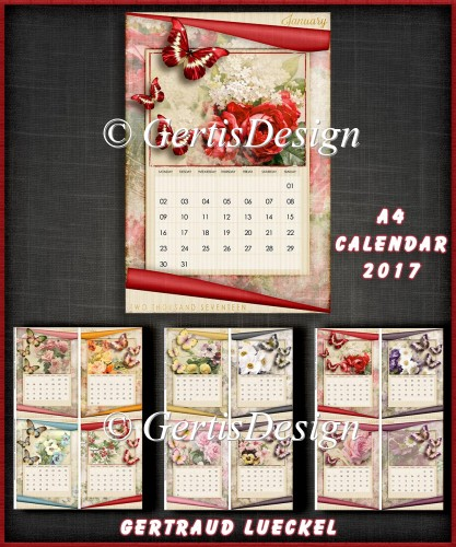 Vintage A4 Calendar 2017 Kit Vintage Butterflies And Flowers Instant Card Making Downloads