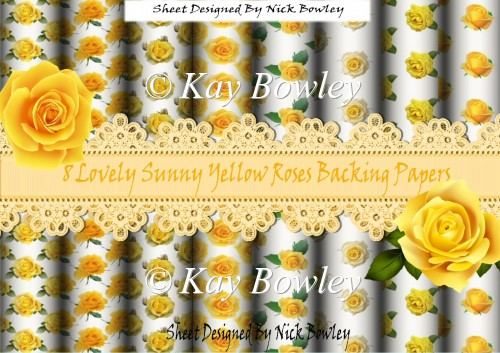8 Lovely sunny yellow roses Backing Papers - Click Image to Close