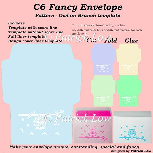 C6 Fancy Envelope - Pattern - Owl on Branch template - Click Image to Close