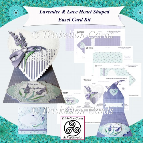 Lavender and Lace Heart Shaped Easel Card Kit - Click Image to Close