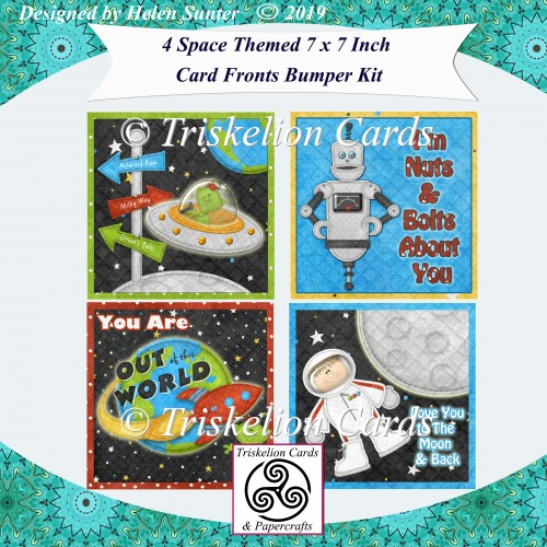4 Space Themed 7 x 7 Inch Card Fronts with Decoupage Bumper Kit - Click Image to Close