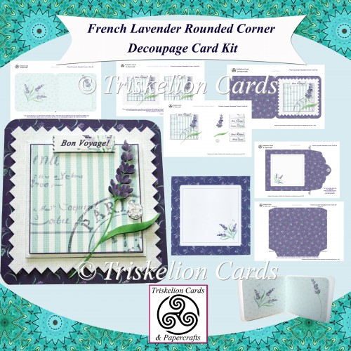 French Lavender Rounded Corner Decoupage Card Kit - Click Image to Close