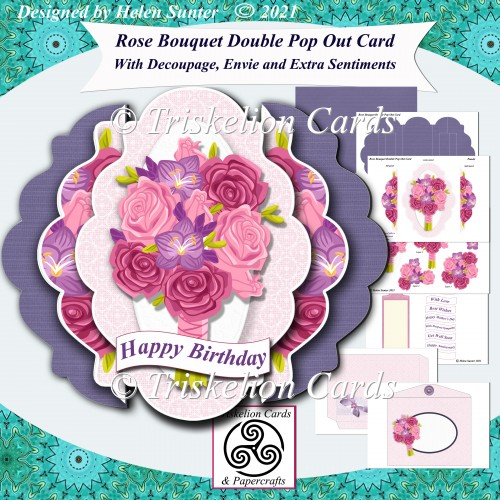 Rose Bouquet Fancy Edge Double Pop Out Card and Envelope Purple - Click Image to Close
