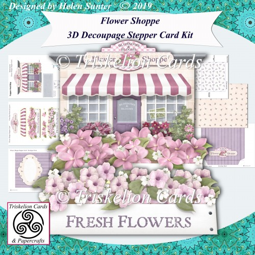 Flower Shoppe 3D Decoupage Stepper Card Kit with Envelope - Click Image to Close