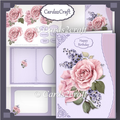 Wavy edge pink roses and lilac - Click Image to Close